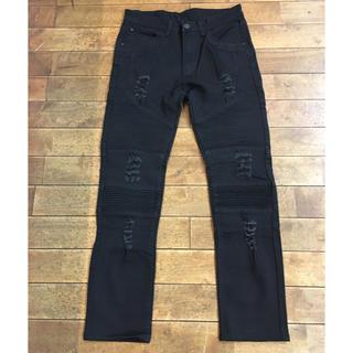 ショット(schott)の美品 ダメージ バイカー ストレッチ パンツ ブラック メンズ(その他)