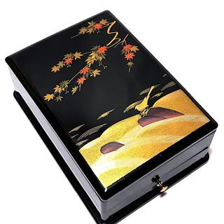 硯箱 文箱 手許箱 印章箱 素敵な絵柄 金彩も綺麗 小物入れにも(漆芸)