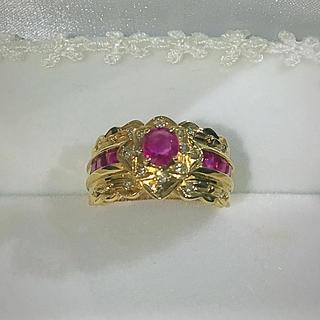 K18 ルビー/ダイヤ リング(リング(指輪))
