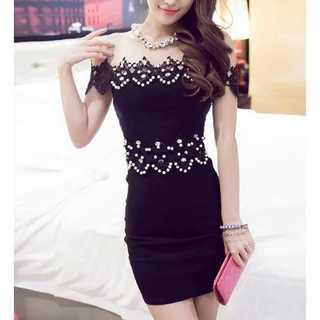 デイジー(Daisy)のオフショル パール ビーズ タイト ドレス ワンピース ブラック キャバドレス(ナイトドレス)