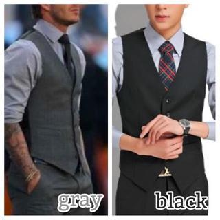 スーツ ベスト メンズ フォーマル XS S M L XL 黒 グレー 高品質(スーツベスト)