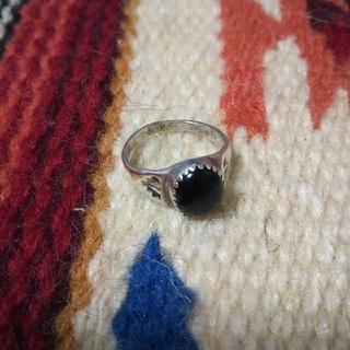 インディアン(Indian)のインディアンジュエリー ナバホ族 sterling オニキス シルバーリング指輪(リング(指輪))