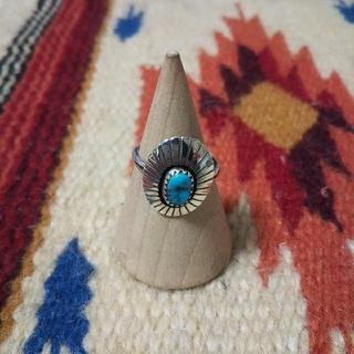 インディアン(Indian)のインディアンジュエリー ナバホ族 ターコイズ シルバーリング 指輪 サンバースト(リング(指輪))