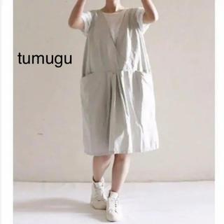 ツムグ(tumugu)のtumugu エプロンワンピ リネン(ひざ丈ワンピース)