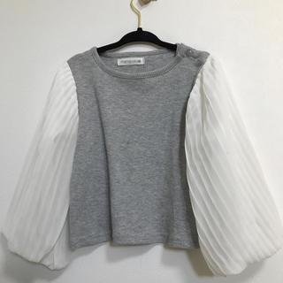 シマムラ(しまむら)のしまむら トップス95サイズ ボリューム袖 グレー 白 女の子 リブトップス(Tシャツ/カットソー)
