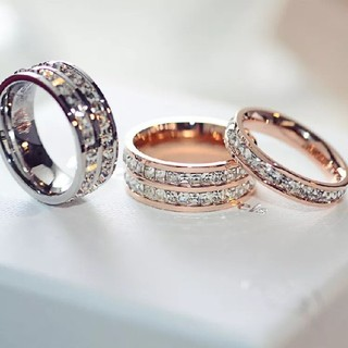 2連☆キラキラスワロチタンステンレス製リング指輪 (リング(指輪))