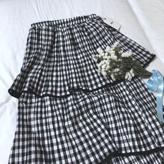 メリージェニー(merry jenny)のギンガムティアードスカート(ひざ丈スカート)