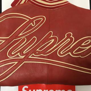 シュプリーム(Supreme)のsupreme Leather Varsity Jacket Mサイズ 赤 新品(レザージャケット)