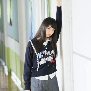 ケイスケカンダ(keisuke kanda)のケイスケカンダ はみだしセーター 紺(ニット/セーター)