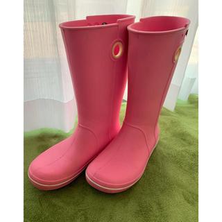 クロックス(crocs)のクロックス crocs 長靴 ピンク W9(レインブーツ/長靴)