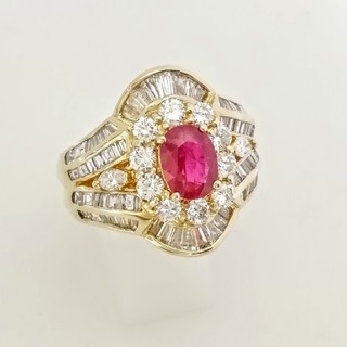 豪華なルビー宝石指輪 K18YG♦️ダイヤ♦️いっぱい(リング(指輪))