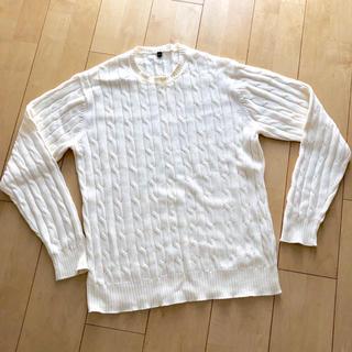 ムジルシリョウヒン(MUJI (無印良品))の無印良品 メンズ  コットンセーター 生成り Lサイズ(ニット/セーター)