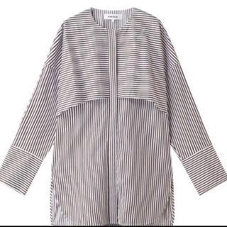 エンフォルド(ENFOLD)のタグ付き新品 enfold  コットンストライプノーカラーシャツ(シャツ/ブラウス(長袖/七分))