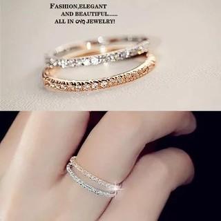 極細1.5mmCZダイヤモンドステンレス製ピンキーリング指輪 (リング(指輪))