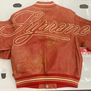 シュプリーム(Supreme)のSupreme leather varsity jacket 赤 M(レザージャケット)
