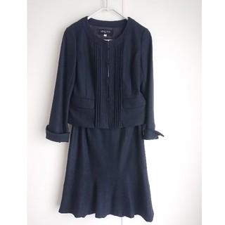ミッシェルクラン(MICHEL KLEIN)の美品ミッシェルクラン38紺スカートノーカラースカートスーツ入卒業式(スーツ)