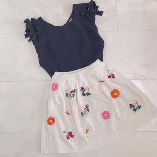ニーナミュウ(Nina mew)の【再値下げ*タグ付き‼︎】刺繍スカート♡(ミニスカート)