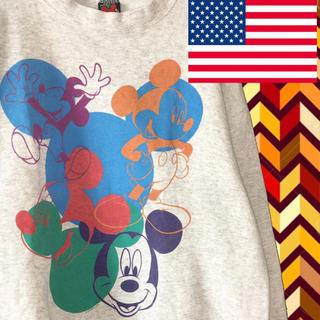 ディズニー(Disney)のUSA 古着 ヴィンテージ  old ミッキー スウェット トレーナー グレー(スウェット)