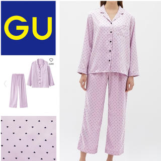 ジーユー(GU)のパジャマ サテン ハート ライトパープル(パジャマ)