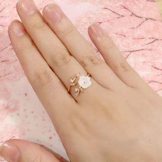 【RO001】桜の花のピンクゴールドリング*天然シェルフラワー*サイズ微調整可能(リング(指輪))