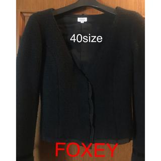 フォクシー(FOXEY)のFOXEY BOUTIQUEジャケット!サイズ40 レースやリボンのデザイン!(ノーカラージャケット)