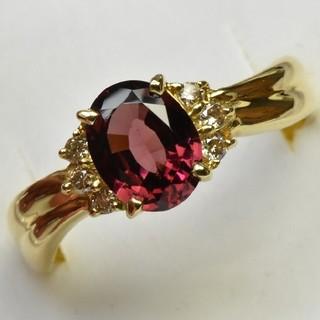 K18 ゴールド ガーネット 1.55ct ダイヤモンドリング 15号  (リング(指輪))