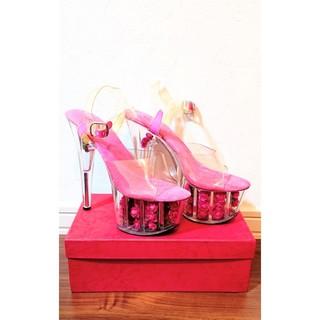 ☆Ellie Shoes ミュールサンダル バラ入り 薔薇 ホットピンク  (ハイヒール/パンプス)