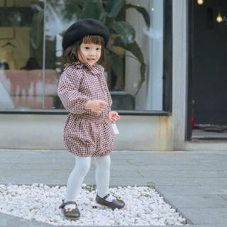 韓国子供服 フリルが可愛いギンガムチェックのセットアップ(ワンピース)