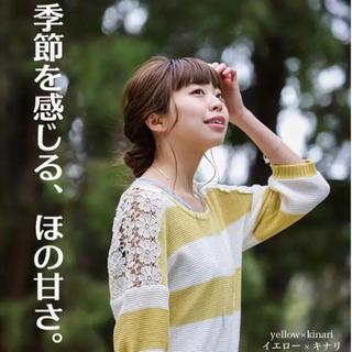 アンドイット(and it_)の肩レース 七分袖 ボーダーニット(カットソー(長袖/七分))