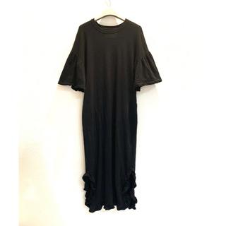 カオン(Kaon)のkaon 17SS パイルステッチドレス 黒 ワンピース カオン(ロングワンピース/マキシワンピース)
