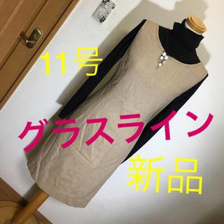 グラスライン(Glass Line)のアンゴラ&カシミヤ 新品 茶系 ベージュ ワンピース 11号 (ひざ丈ワンピース)