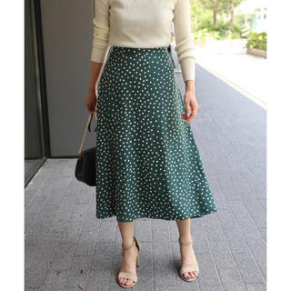 ノーブル(Noble)のヴィンテージデシンドットスカート ノーブル グリーン 36 緑(ロングスカート)