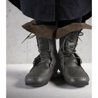 アンティカ(antiqua)のアンティカ 本革 編み上げブーツ Sサイズ(23〜23.5) ダークブラウン(ブーツ)