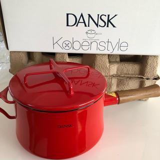 ダンスク(DANSK)の売り切り♡新品未使用♡ダンスク♡ホーロー片手鍋 深型18cm♡チリレッド(鍋/フライパン)