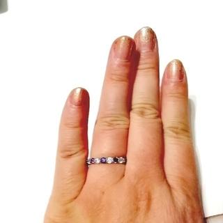 キュービックジルコニアのダイヤとアメジスト リング 指輪 16. 5号(リング(指輪))