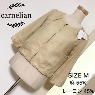 カーネリアン(carnelian)のcarnelian ノーカラージャケット リネン素材混(ノーカラージャケット)