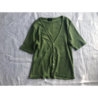緑のリブVネックカーディガン(カーディガン)