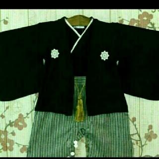 羽織袴風ロンパース 80と足袋風靴下9-12(和服/着物)