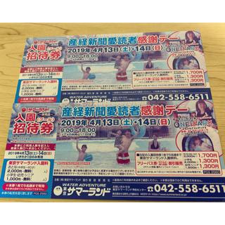東京サマーランド 入園券(プール)