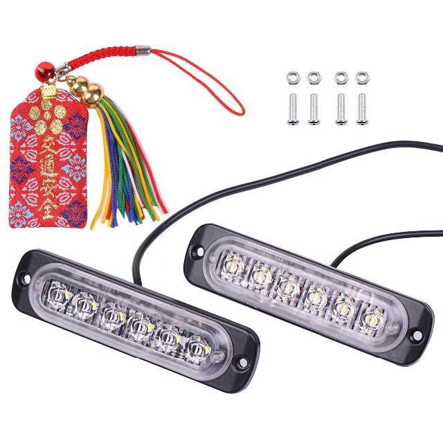 LED デイライト 高輝度 ホワイト 超薄型 6連 防水 汎用 s-b29  自動車/バイクのバイク(モトクロス用品)の商品写真