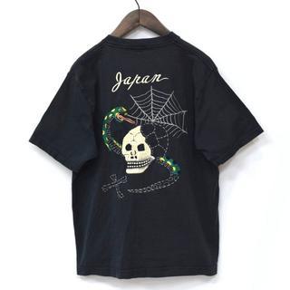東洋エンタープライズ - 東洋エンタープライズ 蛇 & 髑髏 & 蜘蛛 刺繍 スカジャンTシャツ 黒