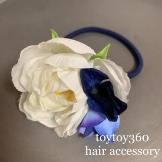 ★ toytoy360 ヘアゴム 髪飾り ラナンキュラス フラワー(ヘアアクセサリー)