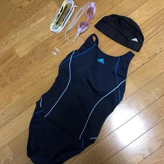 アディダス(adidas)のアディダス 競泳用水着 スポーツ水着 水泳キャップ スイムキャップ 水中ゴーグル(水着)