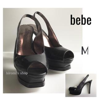 コメックス(COMEX)の【新品】bebe オープントゥパンプス 23〜23.5 ブラック 黒 ミュール(ハイヒール/パンプス)