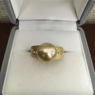 ダイヤモンド×ゴールデンパール リング K18YG 12.0mm 10.2g(リング(指輪))