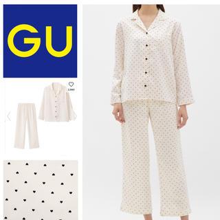 ジーユー(GU)のサテンハートパジャマ ホワイト(パジャマ)