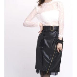 クレイミー(Crayme,)のレザータイトスカート ブラック(ひざ丈スカート)