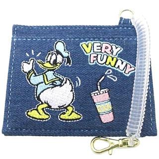 ディズニー(Disney)の🌟🐦ドナルドダック コイル付きデニムICカードケース  刺繍【新品、即購入可(パスケース/IDカードホルダー)
