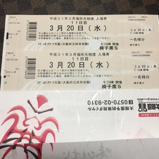大相撲チケット 3月20日 椅子席S 2枚セット価格(相撲/武道)