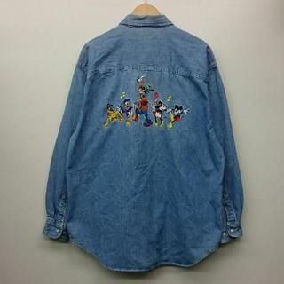 ディズニー(Disney)のディズニー 刺繍 レディース デニムシャツ XL(シャツ/ブラウス(長袖/七分))